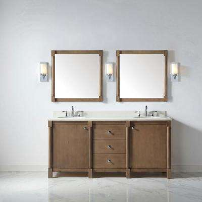 Breton 72 in. W x 22 in. D Vanity in Almond Toffee with Marble Vanity Top in White with White Basin