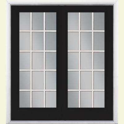 Prehung 15 Lite Steel Patio Door with Brickmold in Vinyl Frame