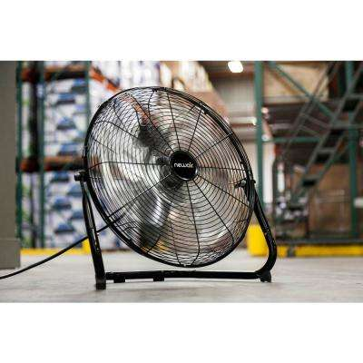 Premium Powerful 18 in. 3-Speed High Velocity Industrial Portable Floor Fan for Indoor or Outdoor Work Space - Black