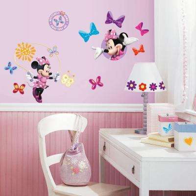 10 in. x 18 in. Mickey and Friends - Minnie Bow-Tique 33-Piece Peel and Stick Wall Decals