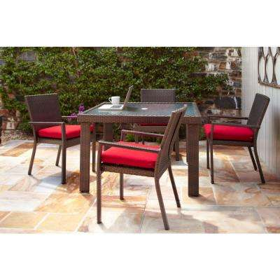Beverly 5-Piece Patio Dining Set with Cardinal Cushion