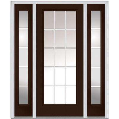 64 in.  x 80 in. GBG Right-Hand Full Lite Classic Painted Fiberglass Smooth Prehung Front Door with Sidelites