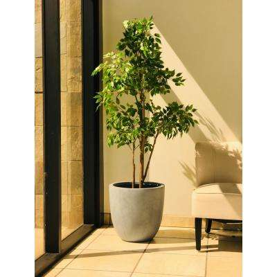 17 in. Tall Slate Gray Lightweight Concrete Round Modern Seamless Outdoor Planter