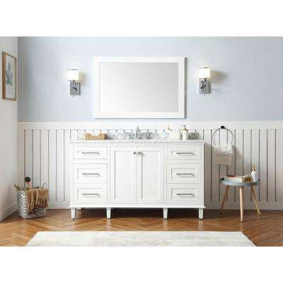 Heathermore 60 in. W x 22 in. D in White with Marble Top in Carrera with White Basins