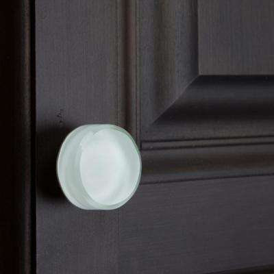 1-3/8 in. Round White Glass Cabinet Knob (10-Pack)