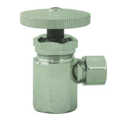 1/2 in. IPS Inlet Angle Stop with Round Handle in Satin Nickel-DISCONTINUED