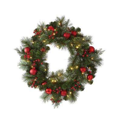 24 in. Artificial Christmas Wreath with Cedar and Pine