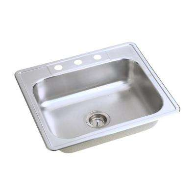 Dayton Top Mount Stainless Steel 25 in. 3-Hole Single Bowl Kitchen Sink