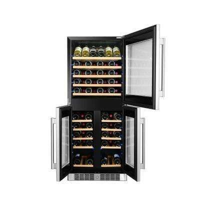 72-Bottle Triple Zone Wine Cooler Built-In with Compressor in Stainless Steel