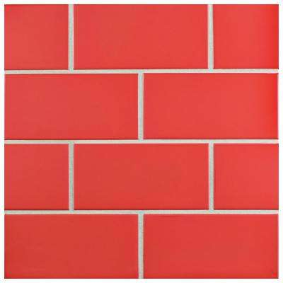 Park Slope Subway Apple Red 3 in. x 6 in. Ceramic Wall Tile (36 cases / 690.48 sq. ft. / pallet)