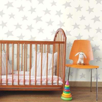 28.18 sq. ft. Star Grey Peel and Stick Wallpaper