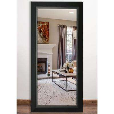 32 in. x 65.5 in. Attractive Matte Black Beveled Full Body Mirror