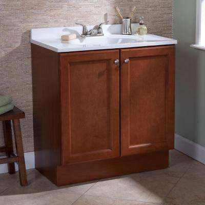 Vanity Pro All-In-One 31 in. W Bathroom Vanity in Amber with Cultured Marble Vanity Top in White