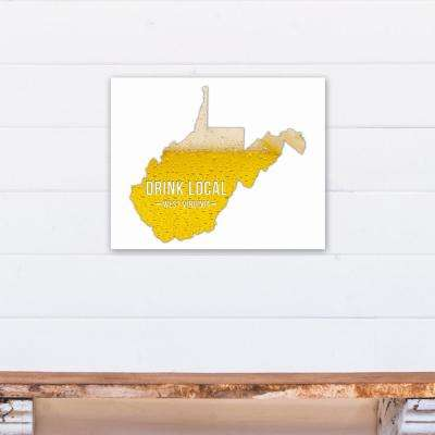 "20 in. x 16 in. ""West Virginia Drink Local Beer Printed Canvas Wall Art"