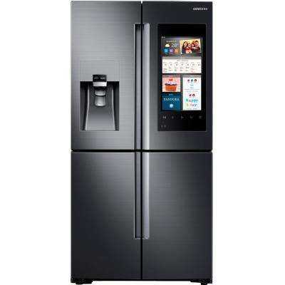 22 cu. ft. Family Hub 4-Door Flex French Door Refrigerator in Black Stainless Steel, Counter Depth