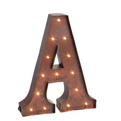 "12 in. H ""A"" Rustic Brown Metal LED Lighted Letter"