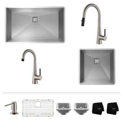 Pax All-in-One 2 Undermount Stainless Steel Sinks with Crespo Pull Down and Bar Kitchen Faucets in Stainless Steel
