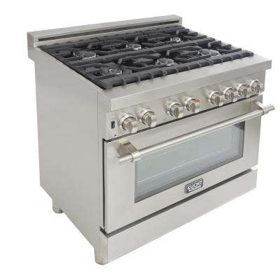 Professional 36 in. 5.2 cu. ft. Dual Fuel Range with Sealed Burners and Convection Oven in Stainless Steel
