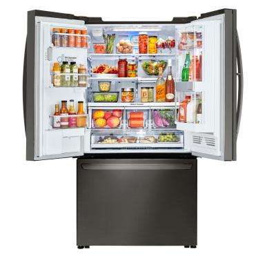 30 cu. ft. 3 Door French Door Smart Refrigerator with InstaView Door-in-Door and Wi-Fi Enabled in Black Stainless Steel
