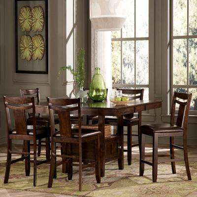 Barrington 7-Piece Counter Height Wood Dining Set in Warm Brown