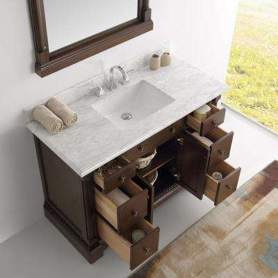 Kingston 48 in. Vanity in Antique Coffee with Marble Vanity Top in Carrera White with White Ceramic Basin and Mirror