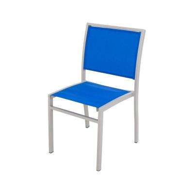 Bayline Textured Silver/Royal Blue Sling Patio Dining Side Chair
