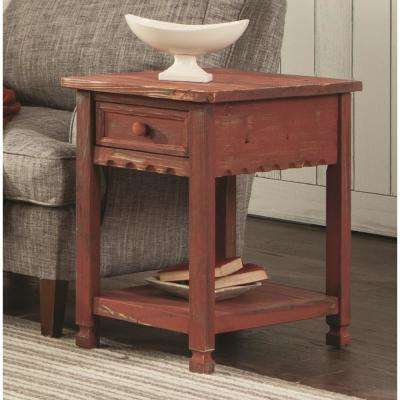 Country Cottage Red Antique Chairside Table