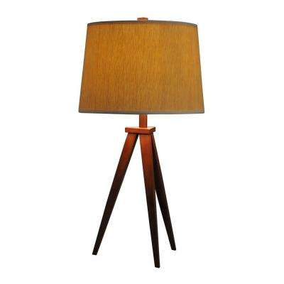 28 in. Tripod Dark Brown Wood Table Lamp