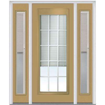 68.5 in. x 81.75 in. Classic Clear RLB GBG Low E Glass Full Lite Painted Majestic Steel Exterior Door with Sidelites