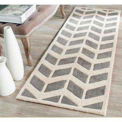 Chatham Dark Gray/Ivory 2 ft. x 11 ft. Runner Rug