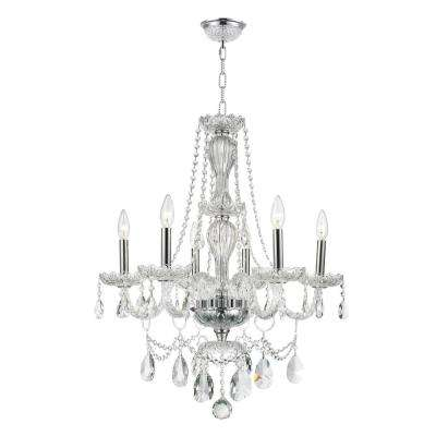 Provence Collection 6-Light Chrome and Clear Crystal Chandelier