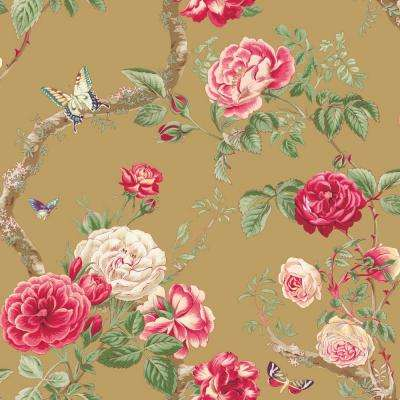 56 sq. ft. Gold Large Rose and Vine Wallpaper