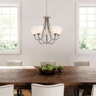 Torino 5-Light Brushed Nickel Chandelier with Etched Glass
