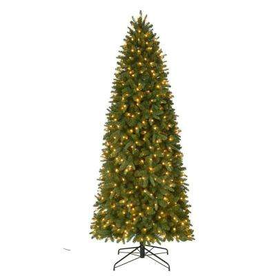 9 ft. Pre-Lit LED Sierra Nevada PE/PVC Slim Artificial Christmas Quick Set Tree x 2046 Tips with 550 Warm White Lights