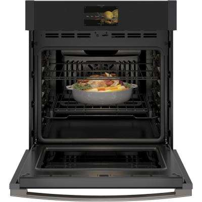 Profile 27 in. Smart Single Electric Smart Wall Oven with Convection Self-Cleaning in Black Slate, Fingerprint Resistant