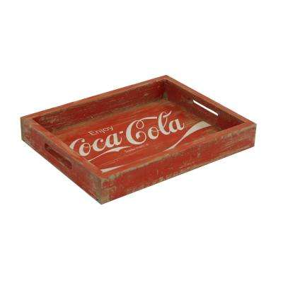 17.5 in. x 13.5 in. x 2.5 in. Coca-Cola Wood Tray in Vintage Red