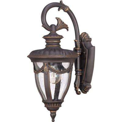 1-Light Outdoor Belgium Bronze Small Wall Lantern with Arm Down and Seeded Glass
