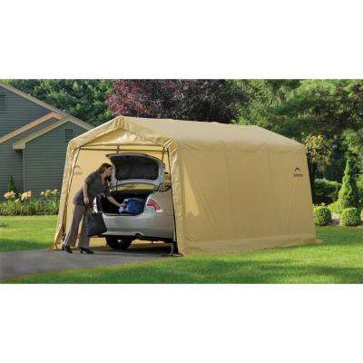 10 ft. W x 15 ft. D x 8 ft. H PE Garage without Floor in Tan w/ Patented Stabilizers and Best-in-Class Tightening