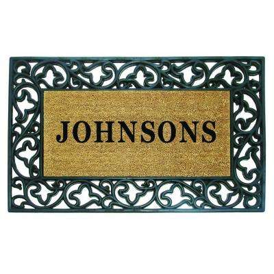 Acanthus Border 22 in. x 36 in. Rubber Coir Personalized Door Mat