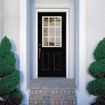 32 in. x 80 in. 9 Lite Jet Black Left Hand Inswing Painted Smooth Fiberglass Prehung Front Door with No Brickmold