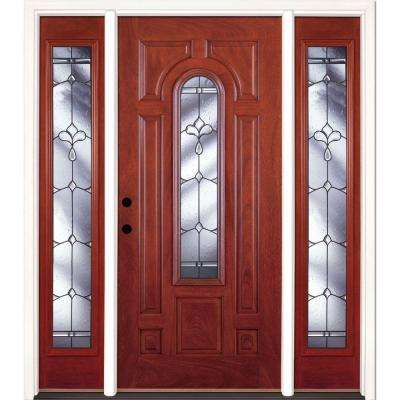 Feather River Doors 63.5 in.x81.625in.Carmel Patina Center Arch Lt Stained Cherry Mahogany Rt-Hd Fiberglass Prehung Front Door w/ Sidelites Feather River Doors