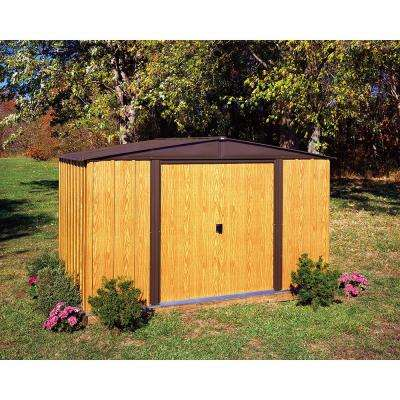 Woodlake 10 ft. W x 8 ft. D 2-Tone Wood-grain Galvanized Metal Storage Shed with Floor Frame Kit