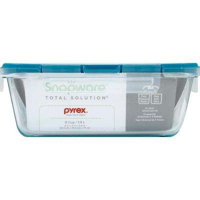 Total Solutions 8-Cup Glass Rectangle Storage Container