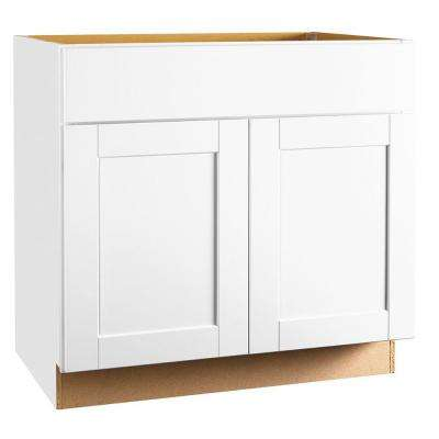 shaker assembled 36x345x24 in sink base kitchen cabinet in satin white - Sink Cabinet Kitchen
