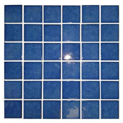 Monet Blue Pool Rated Mosaic 2 in. x 2 in. Glossy Porcelain Wall and Pool Tile (22 sq. ft./case)