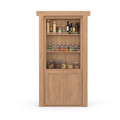 36 in. x 80 in. Flush Mount Assembled Forward Pantry Door Cherry Unfinished Left-Hand Inswing