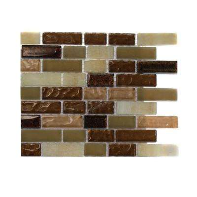 Southern Comfort Brick Pattern 1/2 in. x 2 in. Marble and Glass Tile - 6 in. x 6 in. Tile Sample