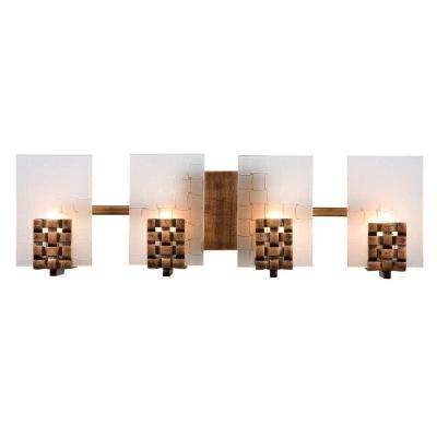 Dreamweaver 4-Light Blackened Copper Bath Vanity Light with Frosted Glass