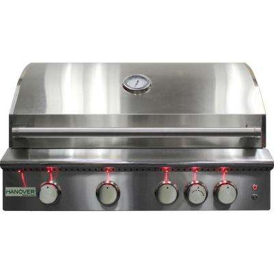 4-Burner Built-In Natural Gas Grill in Stainless Steel with Rear Infrared Burner