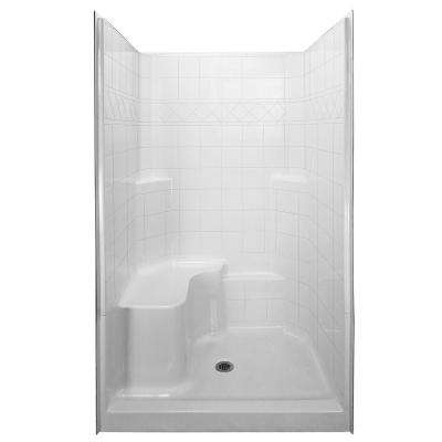 Standard 36.75 in. x 48 in. x 79.5 in. 3-piece Low Threshold Shower System in White with Left Side Seat